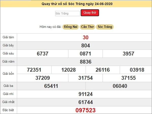 Quay thử kết quả xổ số miền Nam Sóc Trăng ngày 24/6/2020 thứ 4