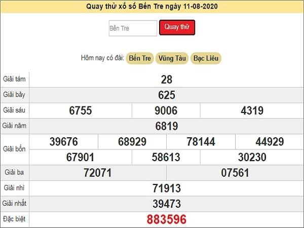Quay thử kết quả xổ số miền Nam Bến Tre ngày 11/8/2020 thứ 3