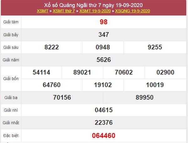 Dự đoán XSQNG 26/9/2020 chốt KQXS Quảng Ngãi thứ 7