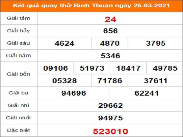 Quay thử Bình Thuận ngày 25/3/2021 thứ 5